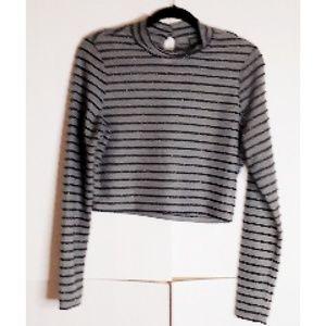 Wild Fable Crop Top Stripe Gray/Blk Sz XL